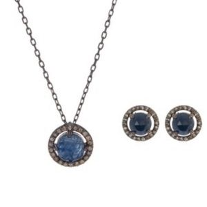 Sapphire Diamond Pendant Necklace & Earring Set